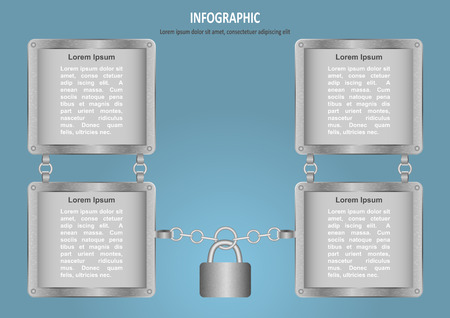 lock and chain: Infographic with lock, chain and 4 options