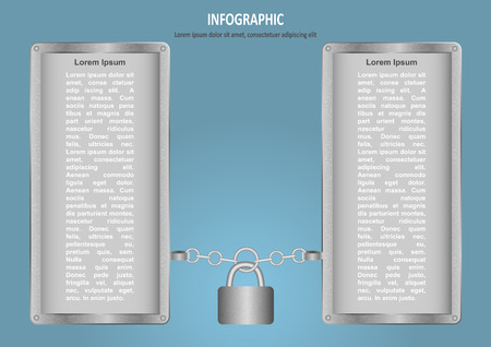 lock and chain: Infographic with lock, chain and two options Illustration
