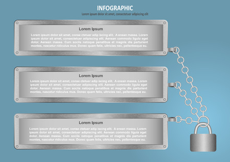 lock and chain: Infographic with lock, chain and 3 options Illustration