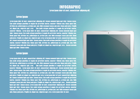 modern palmtop: Infographic with tablet computer and text place