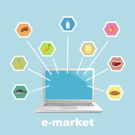 emarketing: Laptop with foodstuff