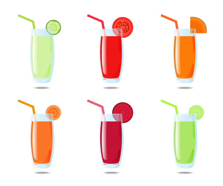 pumpkin tomato: Set 6 vegetable juice: cucumber, tomato, pumpkin, carrot, beet, celery Illustration