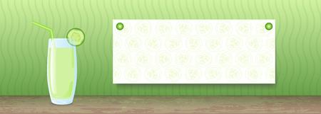 cucumber: Juice Banner. Cucumber Illustration
