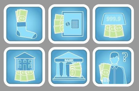 Keeping Money Icons Illustration