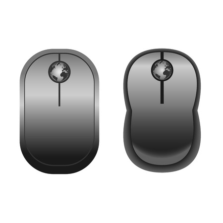 cordless: Computer cordless Black Mouses with globe
