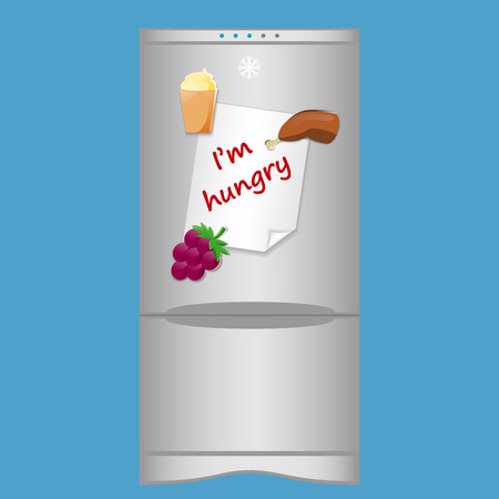 magnets: Icon with refrigerator and blank note Im hungry on magnets
