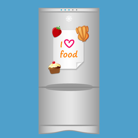 blank note: Icon with refrigerator and blank note I love food on magnets Illustration