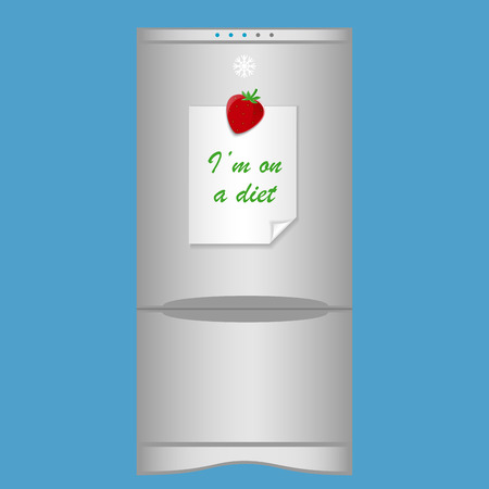 blank note: Icon with refrigerator and blank note Im on a diet on magnet