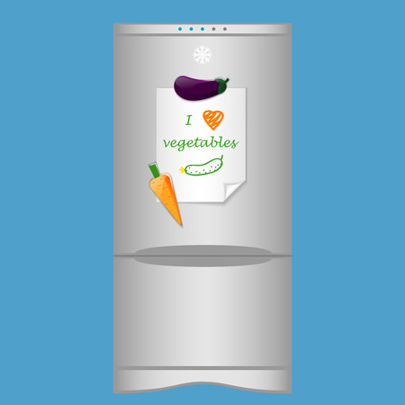 blank note: Icon with refrigerator and blank note I love vegetables on magnets