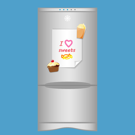 blank note: Icon with refrigerator and blank note I love sweets on magnets