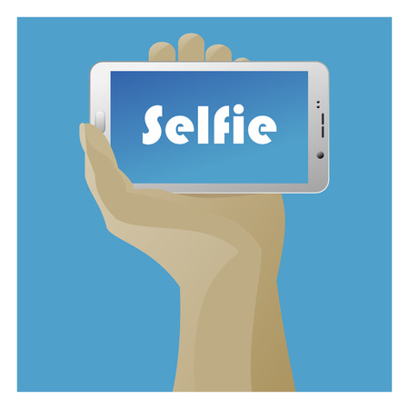 smart phone hand: Selfie Icon with smart phone and hand