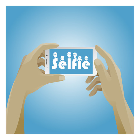 hold hands: Selfie Icon with smart phone