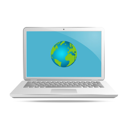 laptop screen: Laptop with globe on screen