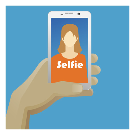 smart phone woman: Selfie Icon with smart phone, photo woman and hand