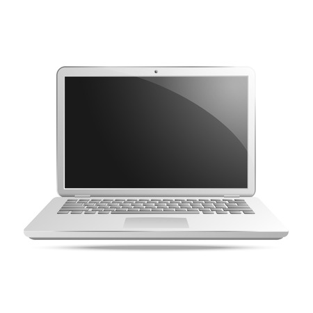 security monitor: laptop on white