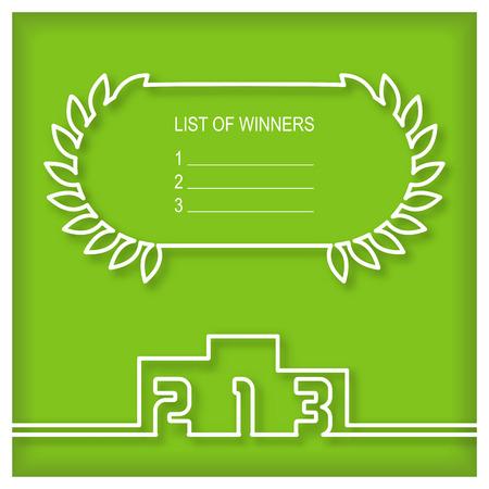 ganador: Ganadores plantilla podio con lista de ganadores