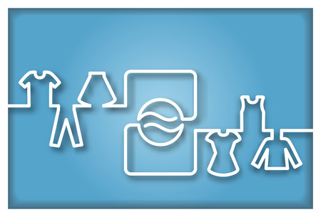 laundry machine: Abstract Washing machine with clothes Icon