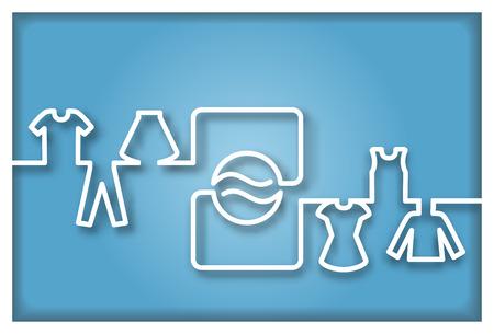 lavanderia: Lavadora abstracto con ropa Icono Vectores
