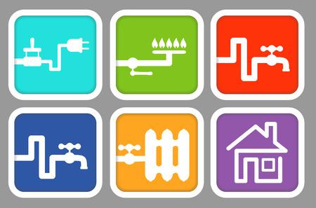 servicios publicos: Iconos de servicios públicos: electricidad, gas, agua fría, agua caliente, calefacción y casas Vectores