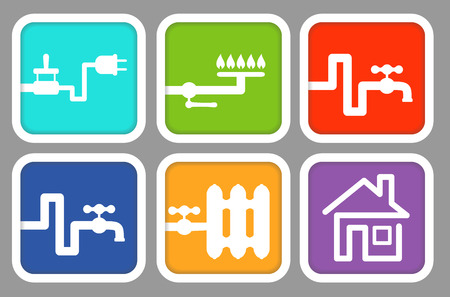 houses on water: Utility icons: electricity, gas, cold water, hot water, heating and house