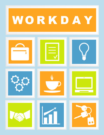 workday: 9 Set Workday Icons Illustration