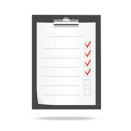 tasks: Vector illustration of a clipboard and checklist with checking off tasks