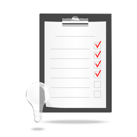 tasks: Vector illustration of a checklist with checking off tasks and lamp Illustration