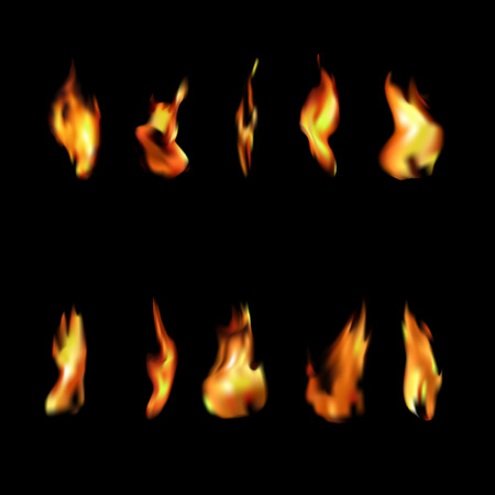 Set of 10 fire flames on black background