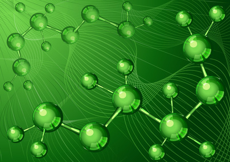 research science: Background with green molecular structure and text place