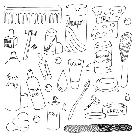 Bath accessories hand drawn doodle set