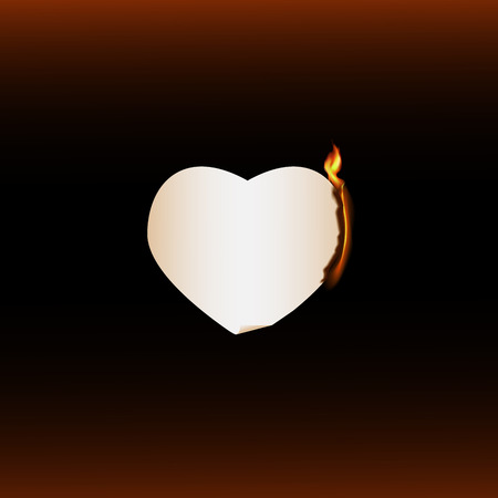 burning: Burning paper heart