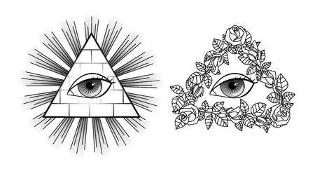 seeing: Set All seeing eye, pyramid, light and roses