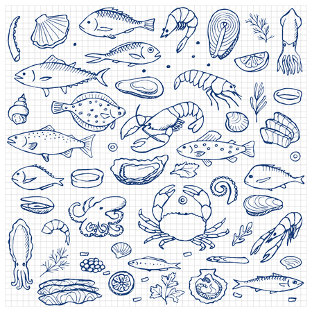 Seafood hand drawn doodle elements Stock Illustratie