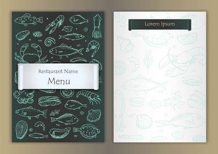 shellfish: Restaurant seafood menu with hand drawn doodle elements