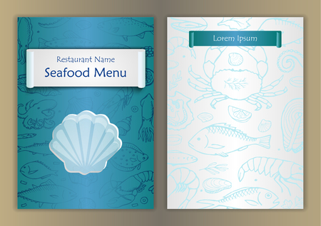 mollusk: Seafood menu with hand drawn doodle elements