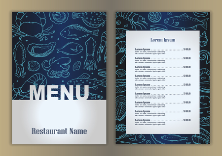 seafood: Restaurant menu with hand drawn seafood doodle elements