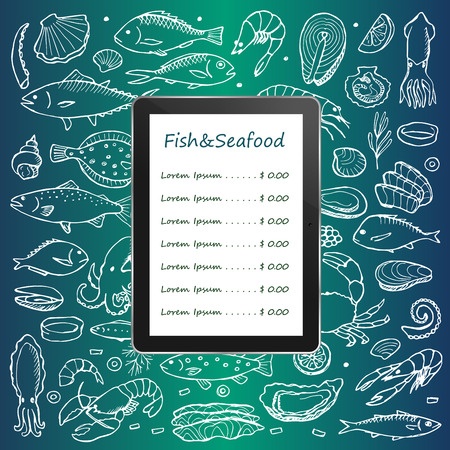 mollusk: Fish and seafood menu on tablet computer with hand drawn doodle elements