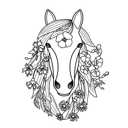 caballos negros: Caballo y flores