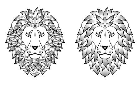 cara leon: Leones. Ilustraci�n del vector para impresiones textiles, tatuaje, signos del zodiaco web y dise�o gr�fico