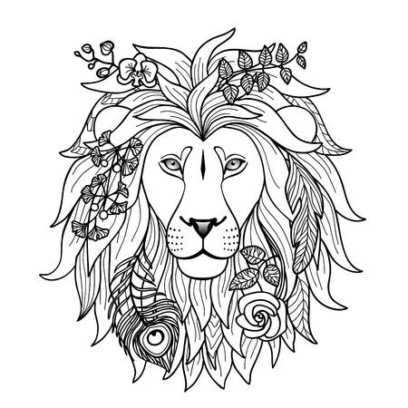 cara leon: Lion. Ilustraci�n del vector para impresiones textiles, tatuaje, signos del zodiaco web y dise�o gr�fico