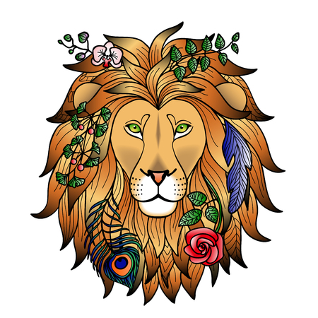 abstract zodiac: Lion. Vector illustration for textile prints, tattoo, zodiac signs web and graphic design