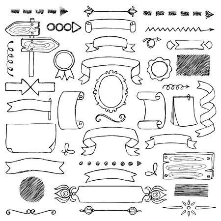 Set Ribbons and Arrows hand drawn elements