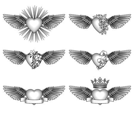 tatouage ange: Set coeurs et des ailes Illustration
