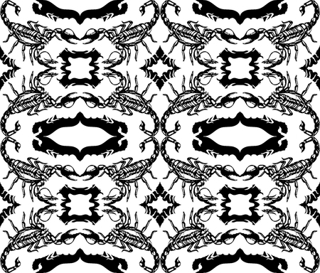 lithograph: Seamless pattern with scorpions