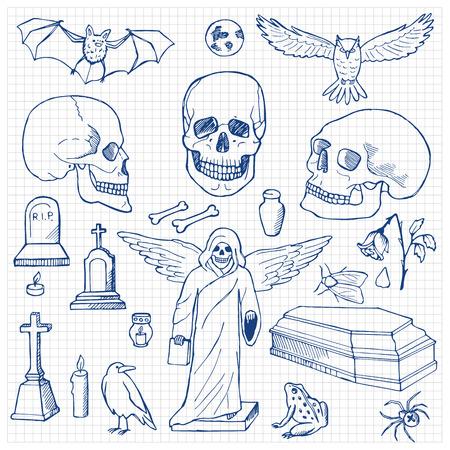 churchyard: Set with hand drawn doodle skulls