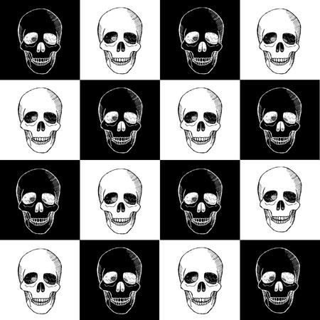 hallowmas: Seamless hand drawn pattern with skulls