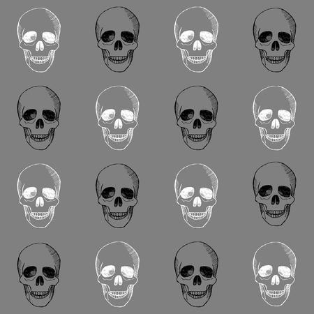 hallowmas: Hand drawn pattern with skulls