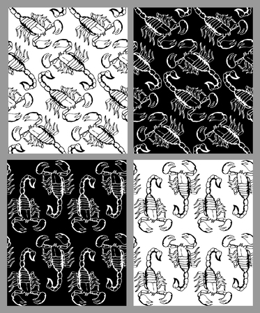 lithograph: Set of seamless hand drawn patterns with scorpions