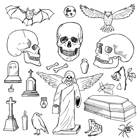 hallowmas: Set with hand drawn doodle skulls