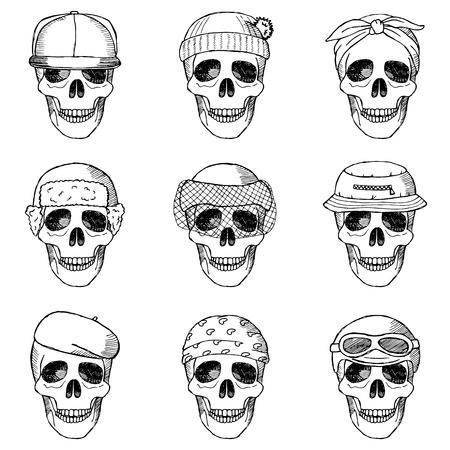 hallowmas: Set of hand drawn skulls with hats
